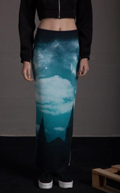 Falda larga de tubo estampada