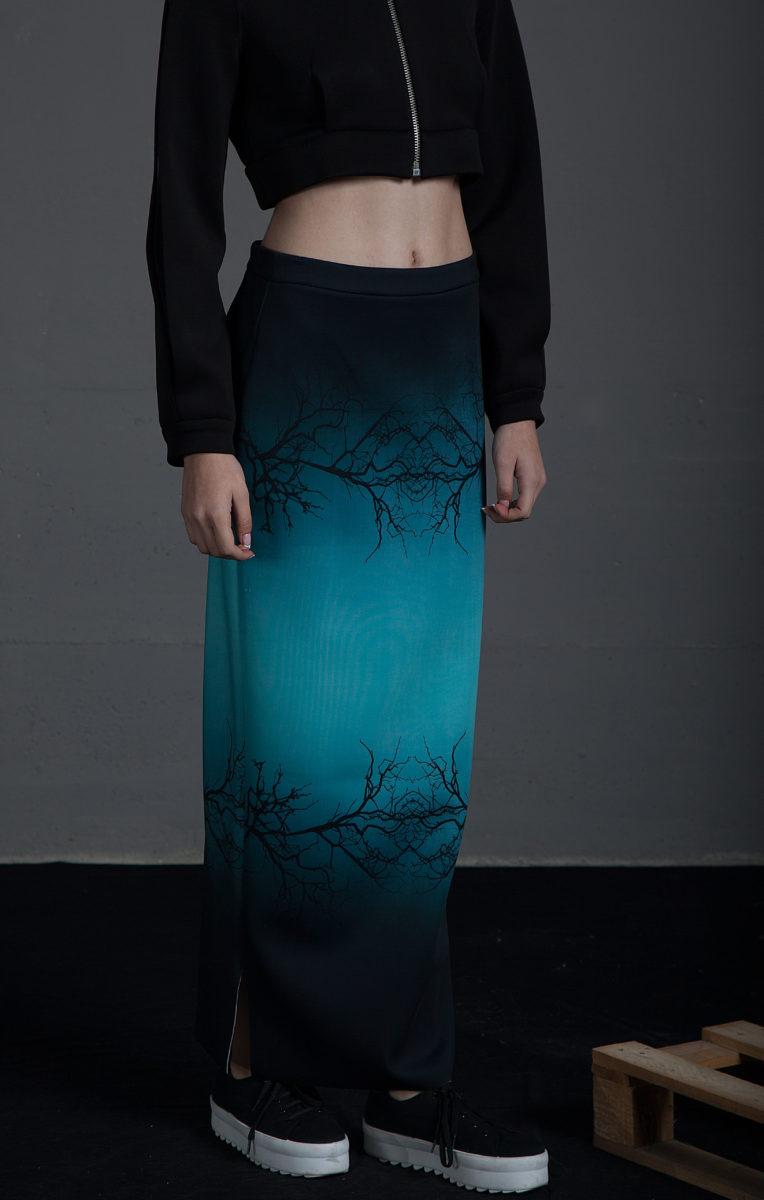 066b855bc8 Falda Idia Verde Estampado Ramas - Violeta Arellano Fashion Designer