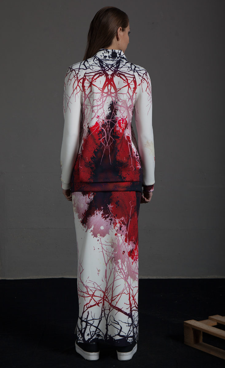 19b7a549f5 Falda Tubo Ida Estampado Acuarela - Violeta Arellano Fashion Designer