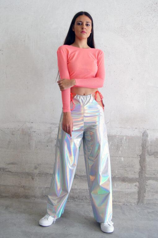 Pantalón aberturas holograma acabado irisado y terciopelo