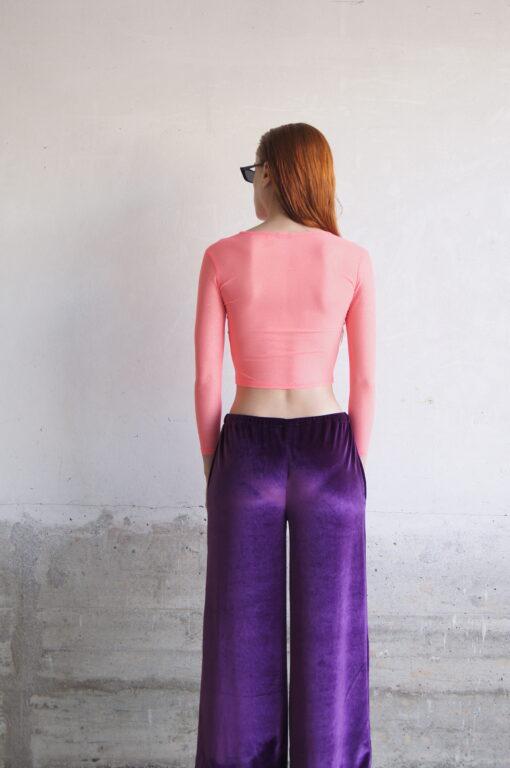 Camiseta elástico de tul coral con brillos